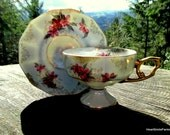 Sterling China Japan Lusterware Rose Tea Cup and Saucer - Sterling China Footed Tea Cup - Lusterware Tea Cup and Saucer