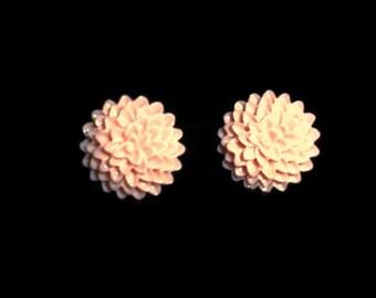 Coral Cabochons Earstud Earrings