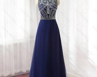 Navy Blue prom dress, formal dress, evening dress, homecoming dress