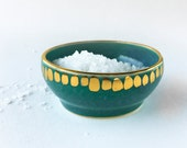 Teal and Gold Salt Cellar - MADE TO ORDER - Teal Dish, Mother's Day Gift, Wedding Gift, Hostess Gift, Turquoise Pottery