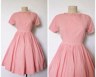 Vintage 1950s Dress | Pink Full Skirt Dress | 50s Pink Dress | XS - S