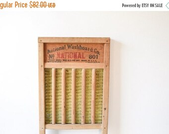 SALE washboard, antique washboard, wooden washboard, wood and brass National Washboard Co. No. 801 washboard, vintage laundry washboard deco