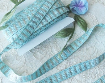 Woven Ribbon Trim - Pastel Aqua - Crafts or Sewing Projects