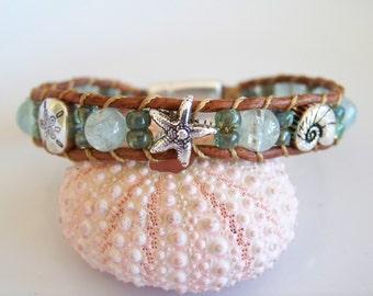 Aquamarine Gemstone Tan Leather Cord Silver Seashell Boho Bracelet-R5999