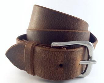 "Men's Belt Distressed / 100 Year Belt / Full Grain Leather Belt / 1.5"" / Thick Leather Belt / Lifetime Guarantee / Brown Belt / Men's Belt"