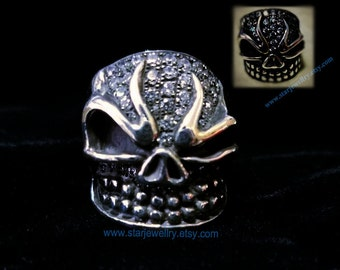 Steampunk the lucky ring large skull ring 925sterling silver ring
