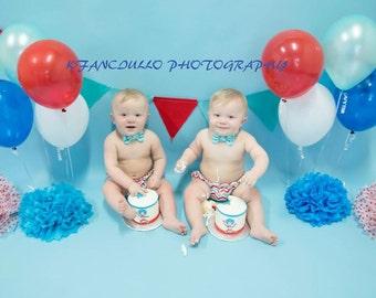 TWINS Dr Seuss Inspired Red Aqua Chevron Aqua Dot 1st Birthday Diaper Cover Bow Tie Cake Smash 4 pc Set