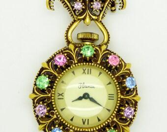 Florenza Rhinestone Clock Pendant Or Brooch