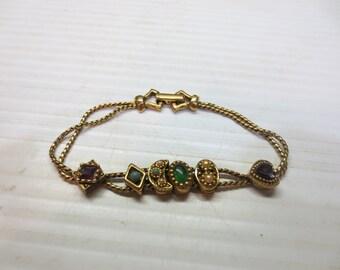 Vintage Victorian Goldette NY Slide Bracelet  Circa 1950's