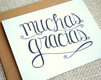Thank You Notes For Wedding Gifts In Spanish : Muchas Gracias Kraft Thank You Cards Set of by PaperHappyDesigns