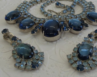 Absolutely STUNNING Blue Cabochon Rhinestone High End Silver Tone Juliana?