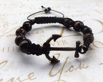 Anchor Bracelet,Tigers Eye Bracelet, Nautical Bracelet, Mens Bracelet