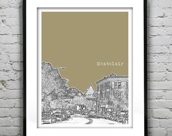 Montclair etsy montclair new jersey skyline poster print art nj version 1 negle Images