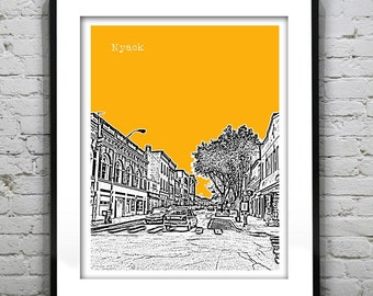 Nyack New York Skyline Poster Art Print NY New York