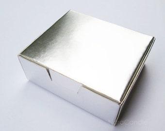 Silver Favor Box, Metallic Silver Box, Silver Foil Box, Jewelry Packaging, Gift Box - Set of 20