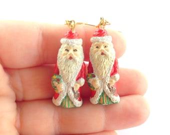 Santa holiday earrings, christmas earrings