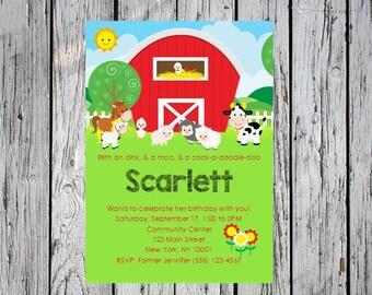Farm Birthday Invitation, Barnyard Birthday Invitation, Farm 1st Birthday Invitation