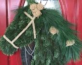 Draft Horse Wreath with Burlap