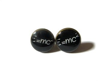 E=mc2 STUD EARRINGS - Science Jewelry - Albert Einstein stud earrings - Einstein earrings - Math earrings - Geek Nerd earrings - Gift Idea