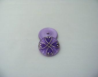Purple and Platinum Czech Glass Button 4528