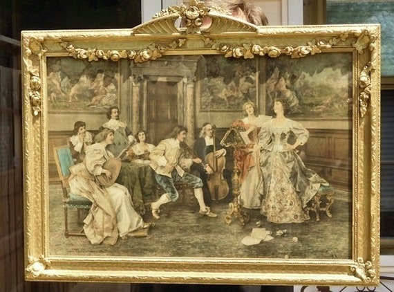 Rococo Style Genre Scene 1900s Victorian Antique Hand Tinted Lithograph Print Federico Andreotti  by Fishel Adler Schwartz Co NY 1902 Art