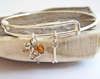 "Retriever Mini Bone Stackable Bangle Bracelet (2.5""-3"")"
