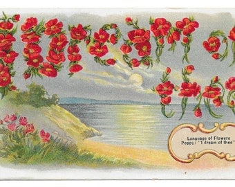 I Dream of Thee - Language of Flowers Postcard, c. 1910