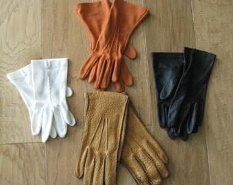 Vintage Lot Of 3 Pair Womens Dress Gloves/  1 Pair Pig Skin Leather Winter Gloves / Ladies  Gloves/ Black Gloves/ Rust Gloves/ White Gloves