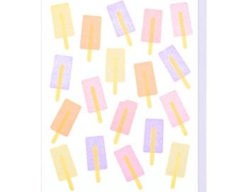 Popsicle Pattern Letterpress Card