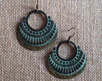 turquoise patina brass dangle earring - goddess