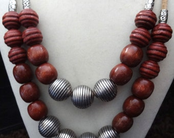 Tribal wooden beaded necklace