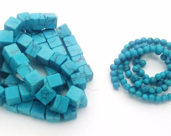 Blue Turquoise square and round beads
