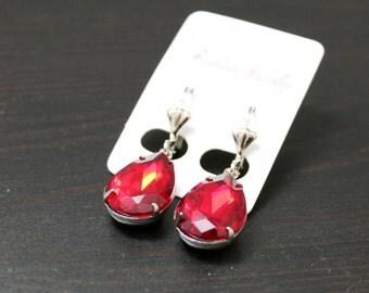 Earrings vintage/steampunk - Red