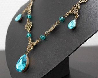 Sparkle necklace - aqua