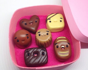 Miniature Sweet Chocolate Box of Perlines, Cute Little Polymer Clay - Yummy Food Figurine Kawaii Style