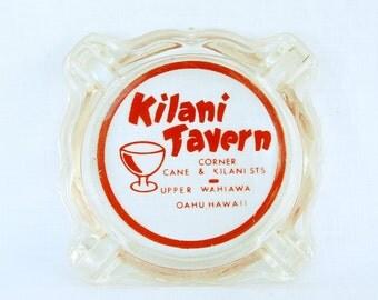 Vtg Kilani Tavern Hawaii Ashtray Glass Advertising Oahu Hawaiian Tobacco Collectible