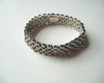 "Vintage sterling silver bracelet, heavy silver linked bracelet, men's silver chain, wide silver chain, 8.25"" sterling silver"