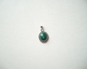 Vintage sterling silver malachite pendant, green gemstone pendant, necklace pendant, malachite charm, deep green semi precious stone