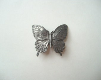 Vintage Seagull pewter butterfly brooch, pewter butterfly pin, insect brooch, Canadian vintage butterfly, signed Seagull brooch