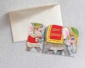 Mid Century Greeting Card / Happy Birthday Circus Elephant / Unused