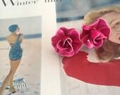 Raspberry Rose / 1960s Clip On Earrings / Vintage Costume Jewelry / Mid Century