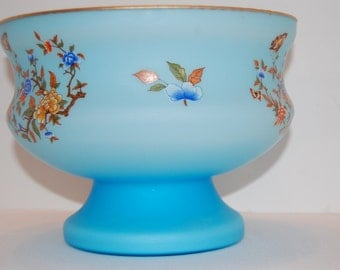 Vintage Blue Bowl, Compote Bowl with Butterflies, Footed Bowl, Ardult of Italy