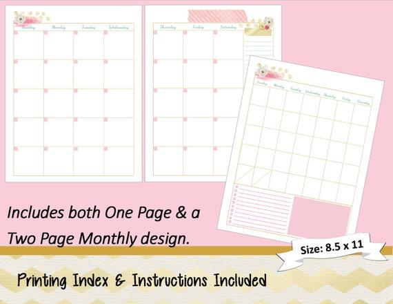 Happy Planner Calendar Refills : Big happy planner printable monthly calendar refills