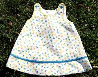 Organic Cotton Pastel Butterflies Print A-line Pinafore Dress Toddler Size 2 READY TO SHIP