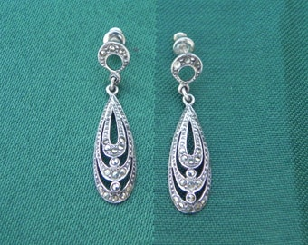 Vintage Jewelry Silver and Marcasite Dangle Earrings, one pair