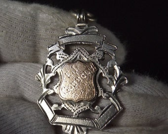 Antique  Sterling Silver 9ct Gold Albert Watch Chain Fob by William James Dingley 1906