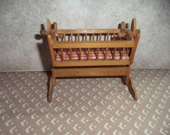 1:12 scale Dollhouse Miniature Vintage rocking cradle