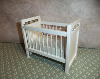 1:12 scale Dollhouse Miniature White Crib