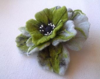 Green Gray Brooch , Wool felt jewelry, Flower Brooch, Felt Flower Pin, Green Pin, Wool Brooch, Handmade wool art jewelry