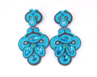 Statement Long Turquoise Clip On Earrings Unique Handmade Soutache Earrings Turquoise and Gray